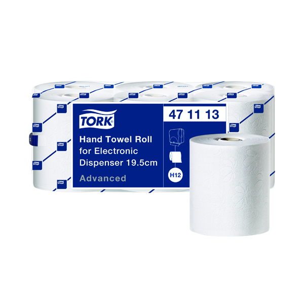 Toilet Tissue & Dispensers Tork Electronic White 2-Ply Hand Towel Roll 195mm Wide Sheet (6 Pack) 471113