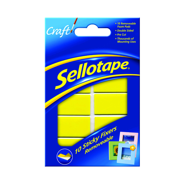 Fixers / Dots / Strips Sellotape Sticky Fixers Removable Pads 20 x 40mm (10 Pack) 1445286