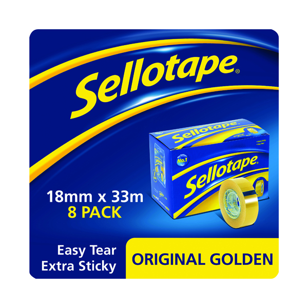 18/19mm Sellotape Original Golden Tape 18mm x 33m (8 Pack) 1443251
