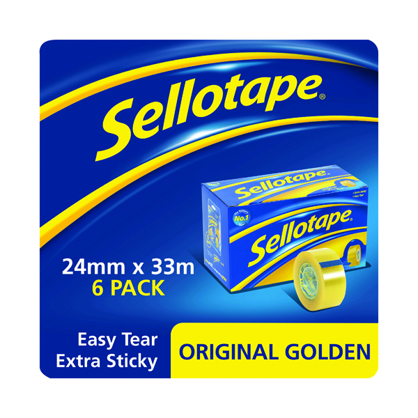 24/25mm Sellotape Original Golden Tape 24mm x 33m (6 Pack) 1443254