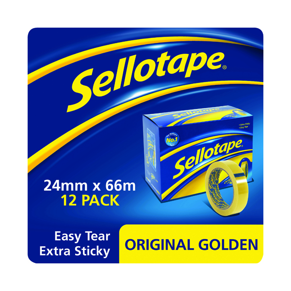 24/25mm Sellotape Original Golden Tape 24mm x 66m (12 Pack) 1443268