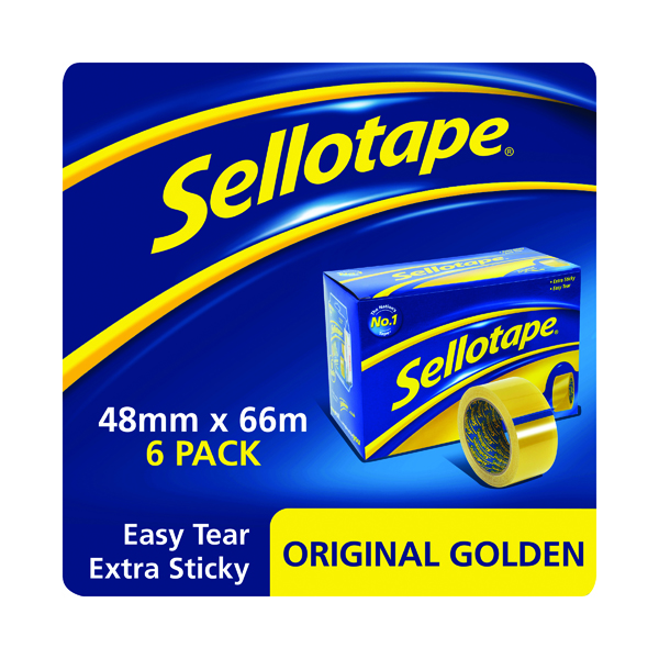 38+mm Sellotape Original Golden Tape 48mm x 66m (6 Pack) 1443304