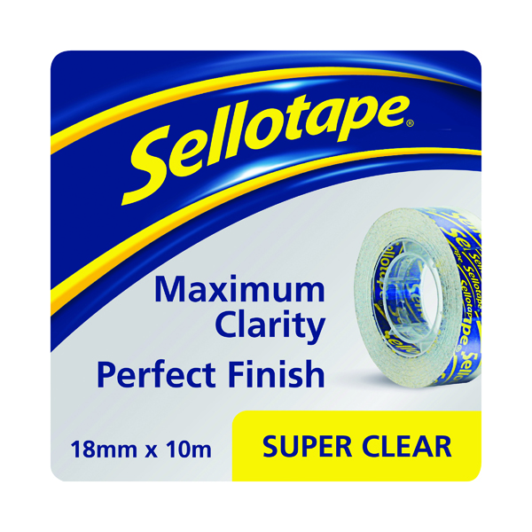 18/19mm Sellotape Super Clear Tape 18mm x10m (50 Pack) 1443330