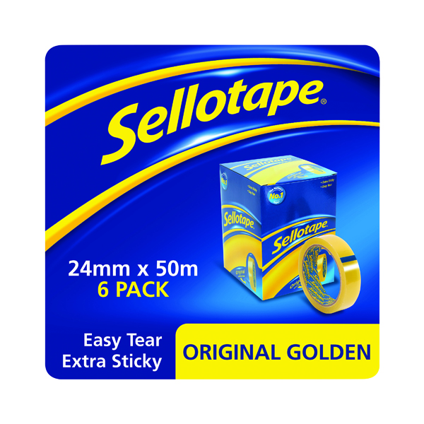 24/25mm Sellotape Original Golden Tape 24mm x 50m (6 Pack) 1443266