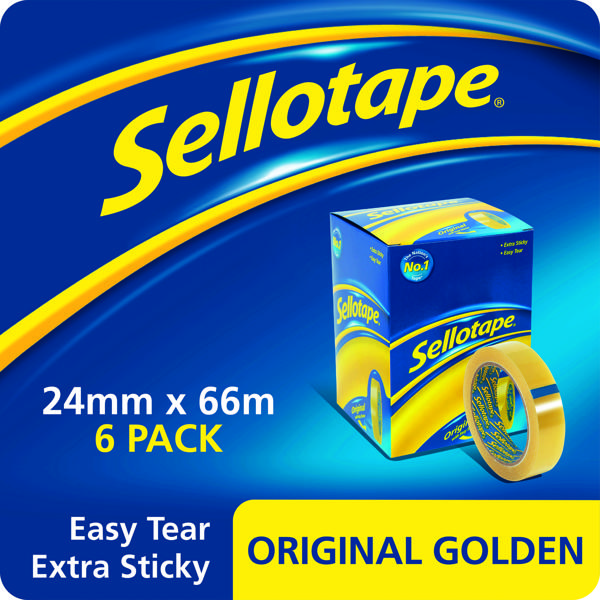 24/25mm Sellotape Original Golden Tape 24mm x 66m (6 Pack) 2028242
