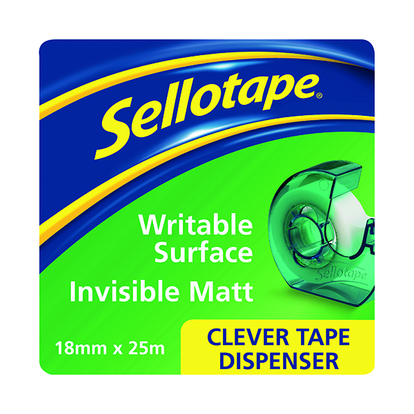 Sellotape Clever Tape and Dispenser 18mmx25m (7 Pack) 1766004