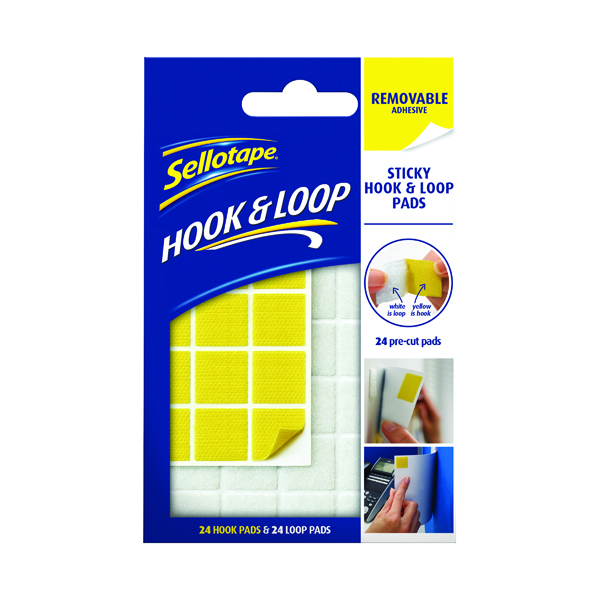 Accessories Sellotape Sticky Hook and Loop Pads Removable (24 Pack) 2055468