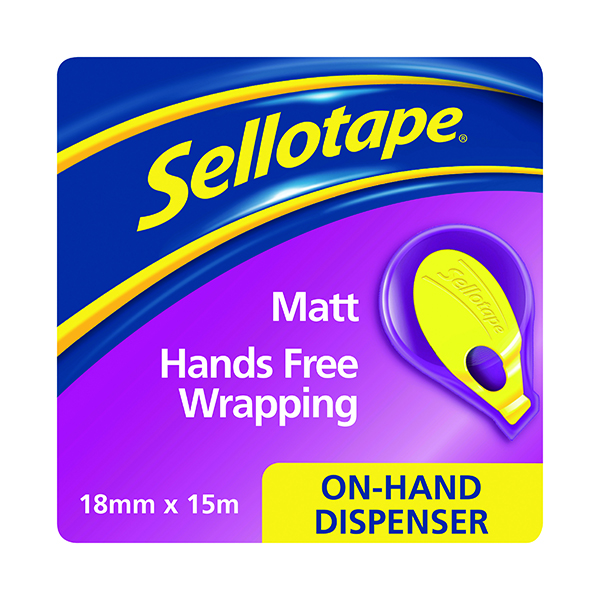 Tape Dispensers Sellotape On-Hand Dispenser with Tape 18mm x 15m 2379004