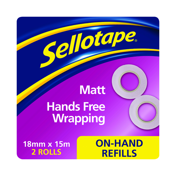 18/19mm Sellotape On-Hand Refill Invisible Tape 18mm x 15m (2 Pack) 2379006