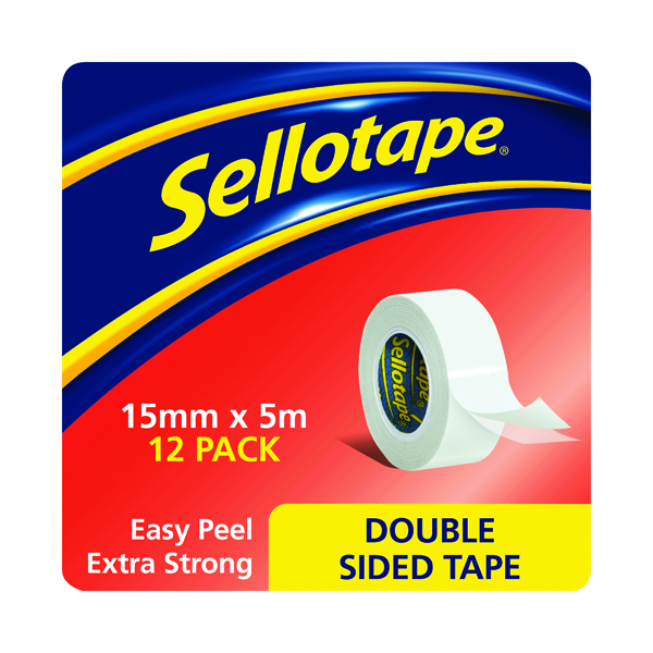 12/15mm Sellotape Double Sided Tape 15mm x 5m (12 Pack) 1445293