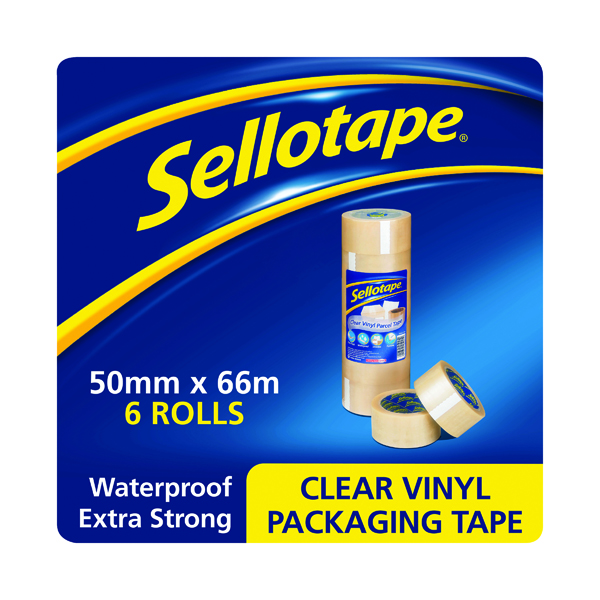 36/50mm Sellotape Vinyl Case Sealing Tape 50mmx66m Clear (6 Pack) 1445488