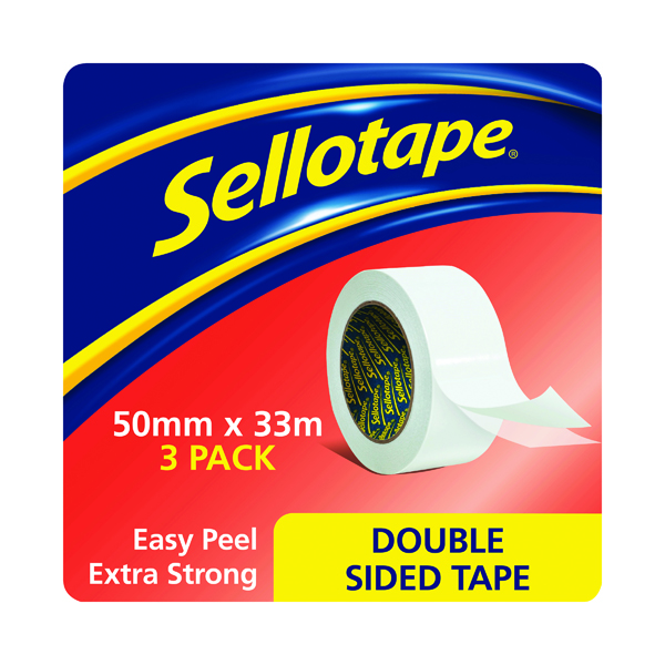 38+mm Sellotape Double Sided Tape 50mm x33m (3 Pack) 1447054