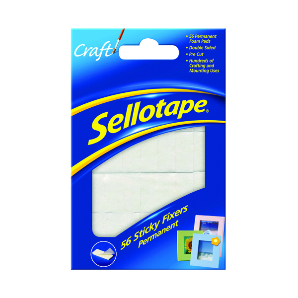 Fixers / Dots / Strips Sellotape Sticky Fixers Permanent 12 x 25mm (56 Pack) 1445423