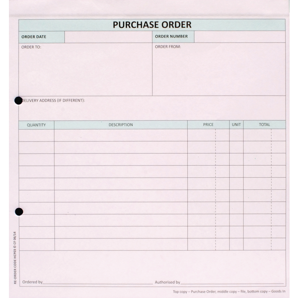 Other Monies Custom Forms 3-Part Purchase Order White/Pink/Blue (50 Pack) HCP03
