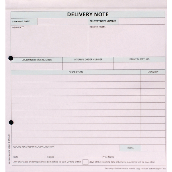 Miscellaneous Custom Forms 3-Part Delivery Note White/Pink/Blue (50 Pack) HCD03