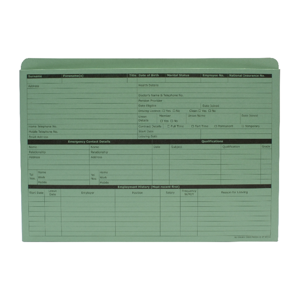 Custom Forms Personnel Wallet Green (50 Pack) PWG01