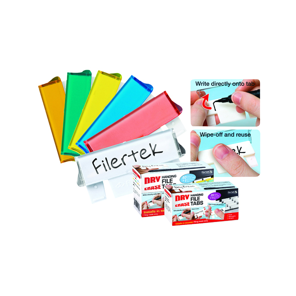 Cathedral Assorted Dry Erase Suspension File Tabs (50 Pack) FPCLIPDRY50ASS
