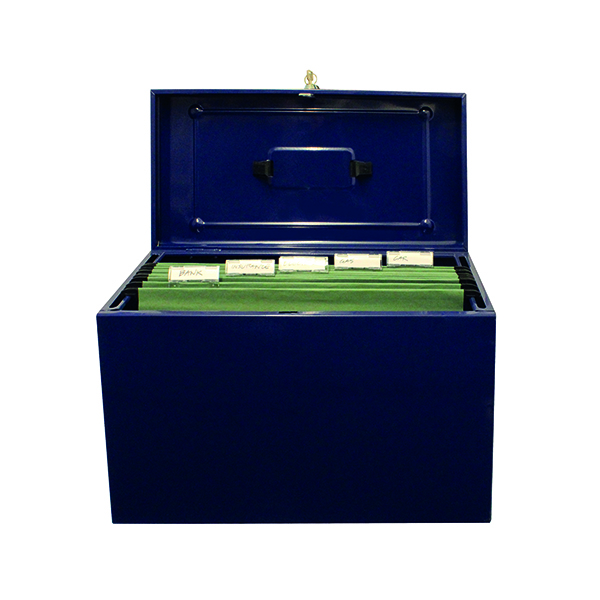 Cathedral Metal File Box Foolscap Home Office Blue HOBL