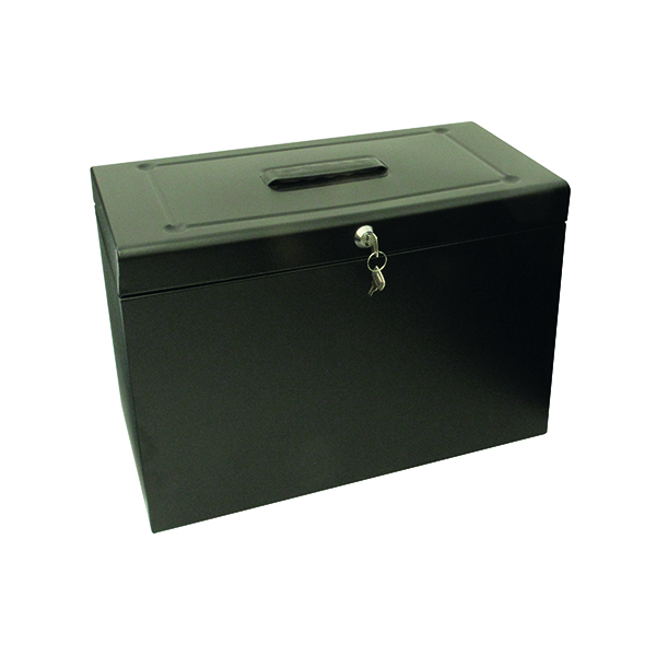 Homefiles Cathedral Metal File Box Home Office Foolscap Black HOBK