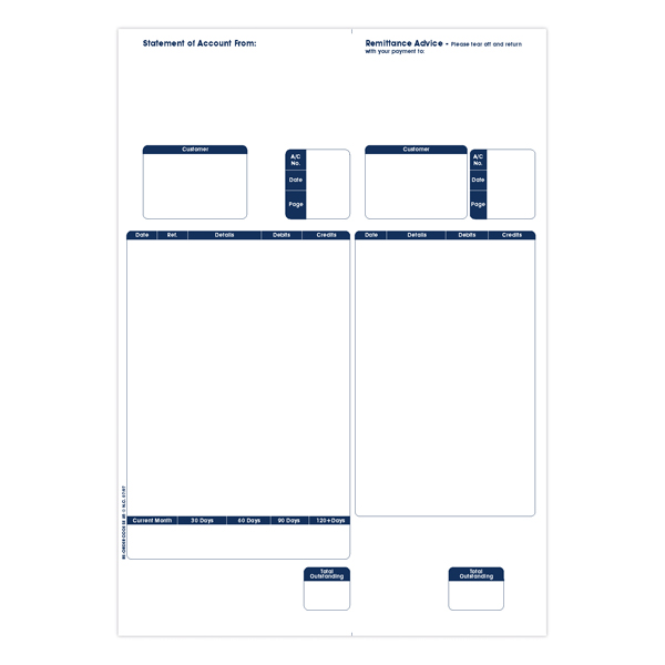 Remittance Custom Forms Sage A4 1-Part Laser Sales Ledgers 90gsm (500 Pack) SE85S