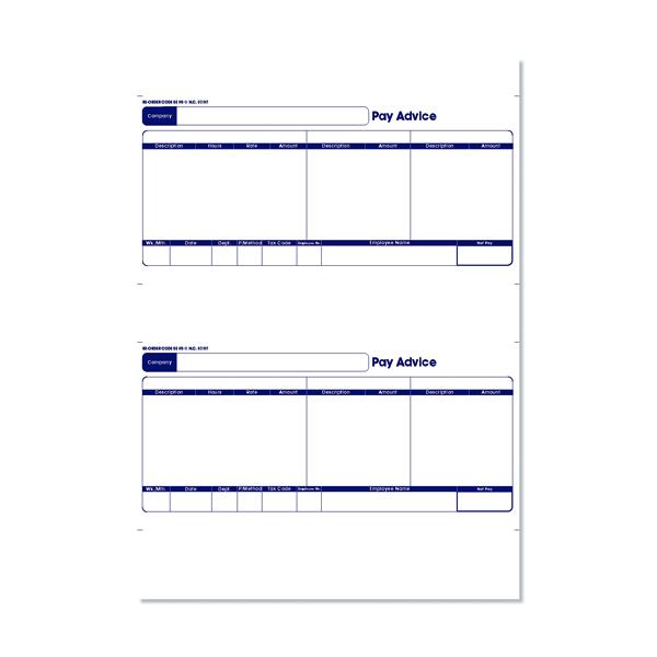 Sage 1-Part Laser Pay Advice Forms (500 Pack) SE95S
