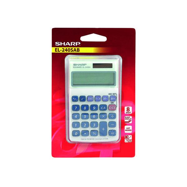 Handheld Calculator Sharp Silver 8-Digit Hand Held Pocket Calculator EL240SAB