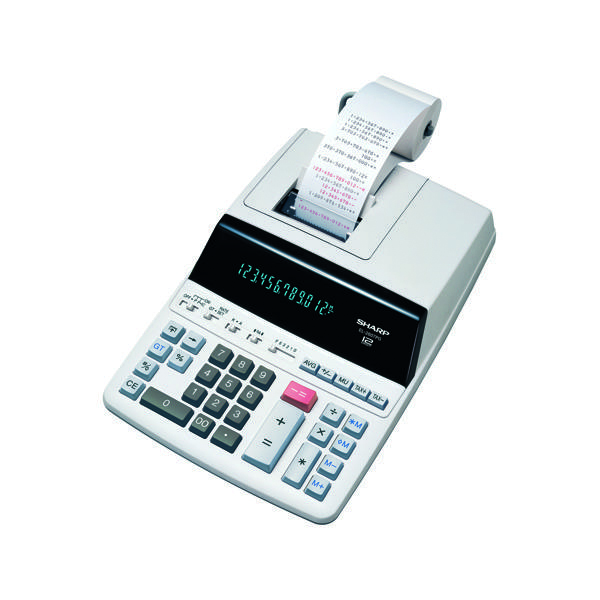Printing Calculator Sharp White 12-Digit Fluorescent Display Printing Calculator EL2607PGY