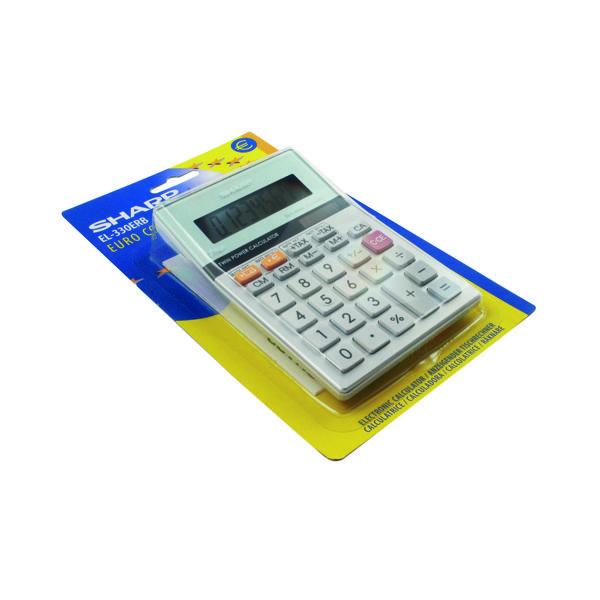 Desktop Calculator Sharp Silver 8-Digit Semi-Desktop Calculator EL-330ERB