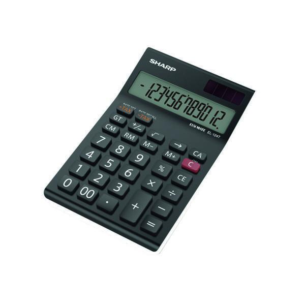 Printing Calculator Sharp Black EL-124AT Desktop Calculator EL124ATWH