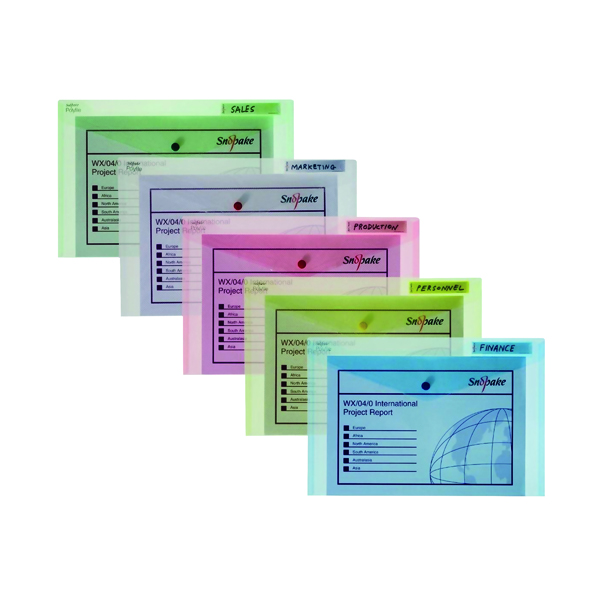 Snopake Polyfile Classic Foolscap Assorted (5 Pack) 10087