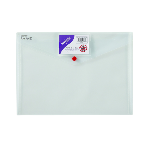 A4 Snopake Polyfile ID Wallet A4 Transparent (5 Pack) 12560