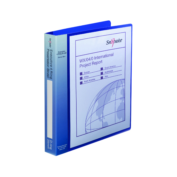 Unspecified Snopake Executive Presentation 4D-Ring A4 Binder Electra Blue 13387