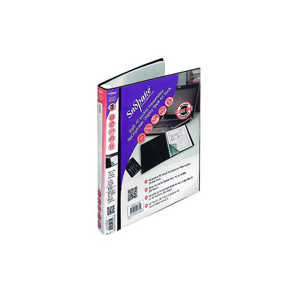 31-50 Pockets Snopake ZipIt Reorganiser Presentation Display Book 40 Pocket Black 15780