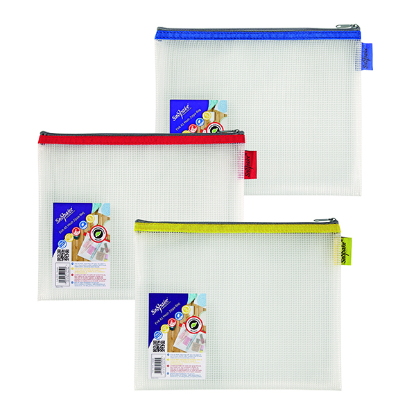 Other Sizes Snopake EVA Mesh Zippa-Bag 207 x 257mm Assorted (3 Pack) 15818