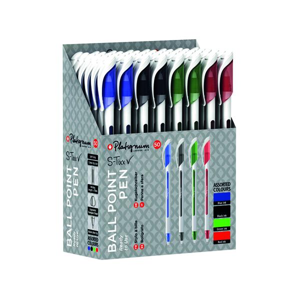 Assorted Snopake Platignum S-Tixx Ballpoint Pen Assorted (50 Pack) 50516