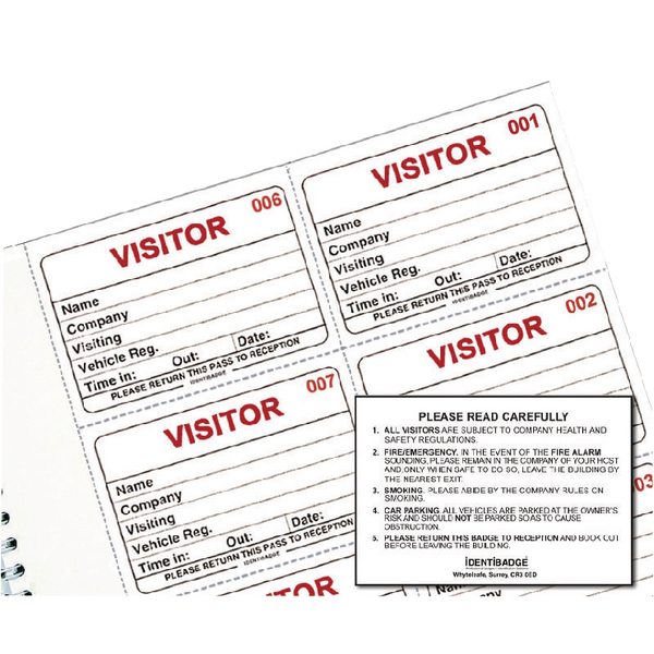 Identibadge Visitors Book Refill (100 Pack) IBRSYS