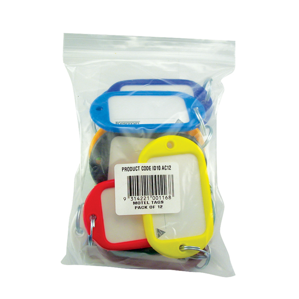 Key Rings Kevron Giant Key Tags Assorted (12 Pack) ID10AC12