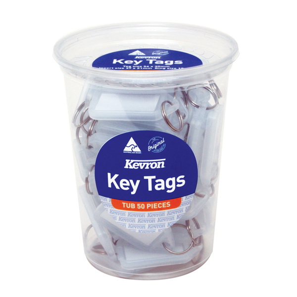 Kevron Standard Key Tags Clear (50 Pack) ID5TUB50CLR