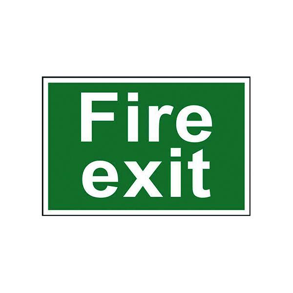 Fire Spectrum Industrial Fire Exit Text S/A PVC Sign 300x200mm 1502