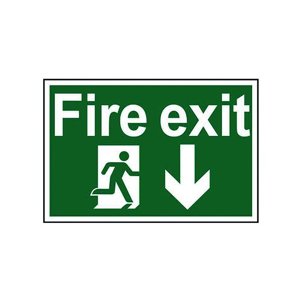 Fire Spectrum Industrial Fire Exit RM Arrow Down S/A PVC Sign 300x200mm 1503