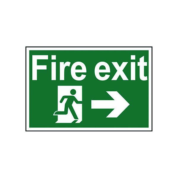 Fire Spectrum Industrial Fire Exit RM Arrow Right S/A PVC Sign 300x200mm 1504