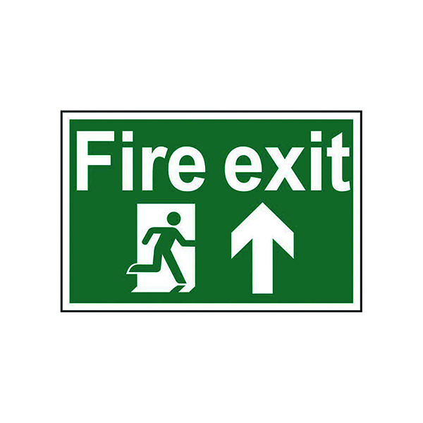 Fire Spectrum Industrial Fire Exit RM Arrow Up S/A PVC Sign 300x200mm 1505