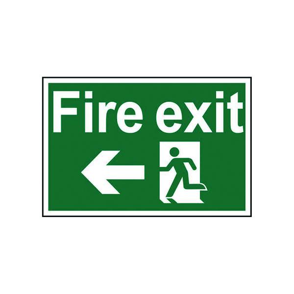 Fire Spectrum Industrial Fire Exit RM Arrow Left S/A PVC Sign 300x200mm 1506