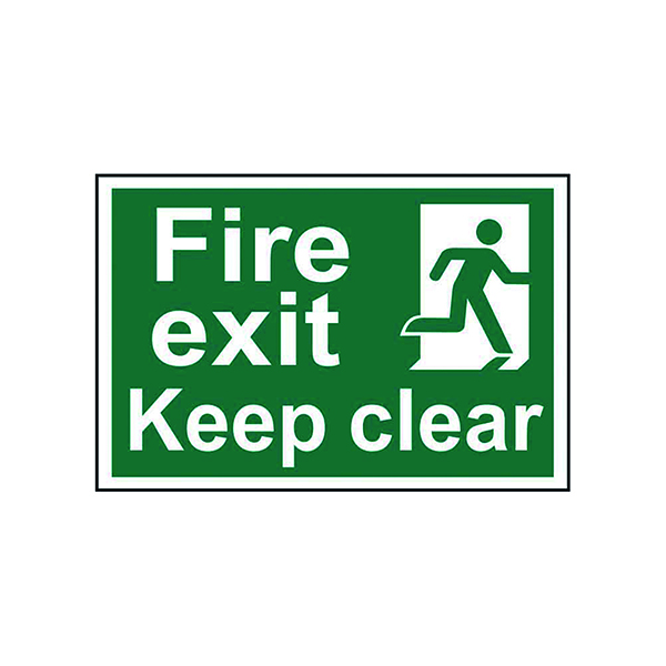 Fire Spectrum Industrial Fire Exit RM Keep Clear S/A PVC Sign 300x200mm 1513