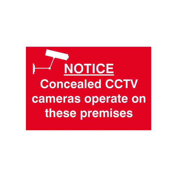 Signs Spectrum Industrial Concealed CCTV Cameras S/A PVC Sign 300x200mm 1607