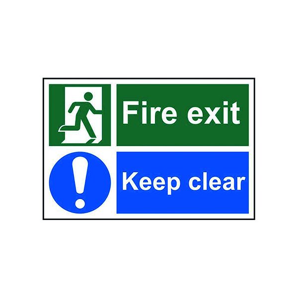 Fire Spectrum Industrial Fire Exit Keep Clear S/A PVC Sign 300x200mm 1540