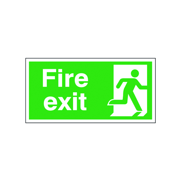 Fire Safety Sign Fire Exit Running Man Right 150x300mm Self-Adhesive E98A/S