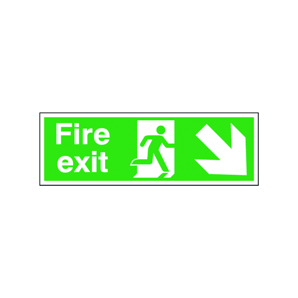 Safety Sign Fire Exit Running Man Arrow Down/Right 150x450mm Self-Adhesive E99S/S