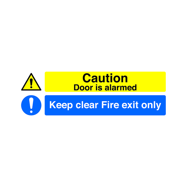 Safety Sign 150x450mm Caution Door is Alarmed Keep Clear Fire Exit Only Self-Adhesive SR72031