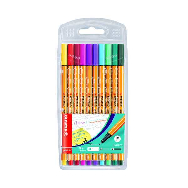 Stabilo Point 88 Fineliner Pen Assorted (10 Pack) 8810